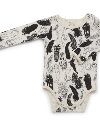 Tinker-by-Printink-Studio-Black-Feather-Long-Sleeve-Baby-Romper